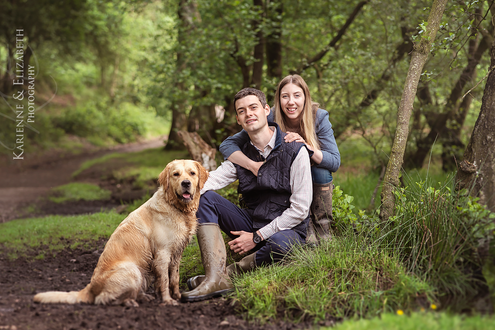 Relaxed dog walk engagement session Staffordshire wedding photography save the date photographs outdoor session